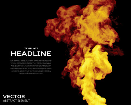 gauze: Vector illustration of fire elements on black. Use it as a background in your design projects.