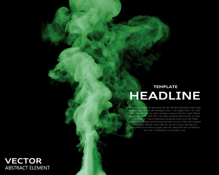 vapour: Vector illustration of green smoke elements on black. Use it as a background in your design projects.