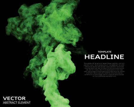 smoke: Ilustraci�n vectorial de elementos de humo de color verde sobre negro. Utilizarlo como un fondo en sus proyectos de dise�o.