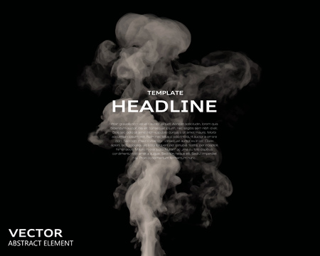 it background: Vector illustration of smoke elements on black. Use it as a background in your design projects.