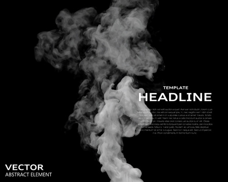 black smoke: Vector illustration of smoke elements on black. Use it as a background in your design projects.