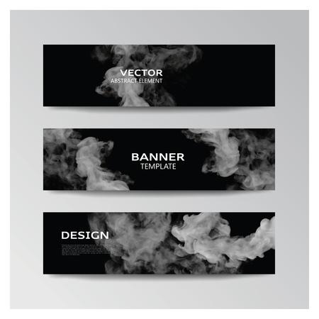 灰色の煙のような形の抽象バナーのベクトル テンプレート
