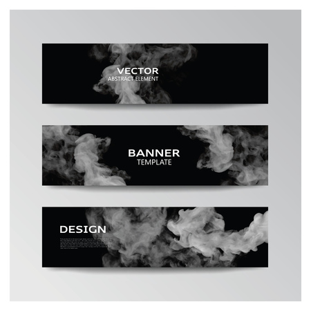 Vector template of banner with abstract grey smoky shapes