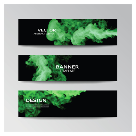 smoky: Vector template of banner with abstract green smoky shapes