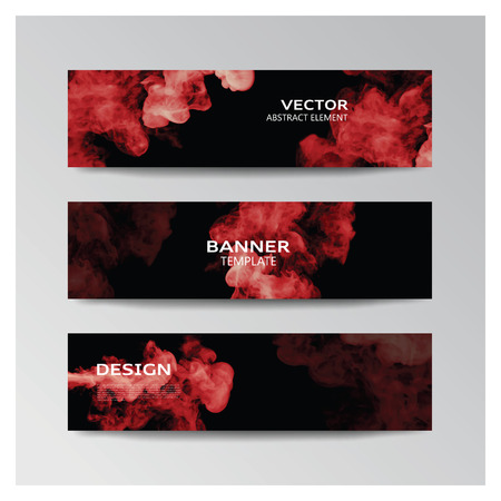 smoky: Vector template of banner with abstract red smoky shapes