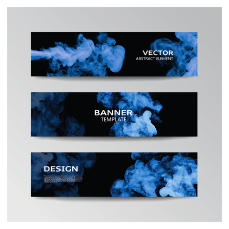 enfumaçado: Vector template of banner with abstract blue smoky shapes Ilustração