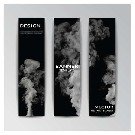 smoky: Vector template of banner with abstract grey smoky shapes