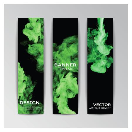 추상 녹색 연기가 자욱한 모양으로 배너의 벡터 템플릿