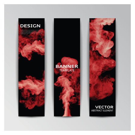enfumaçado: Vector template of banner with abstract red smoky shapes