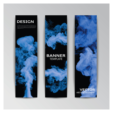 smoky: Vector template of banner with abstract blue smoky shapes Illustration