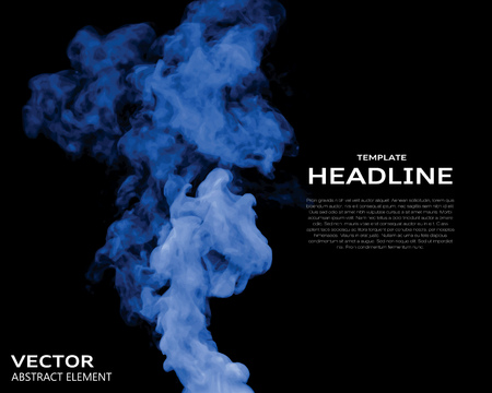 nebulosity: Vector illustration of blue smoke elements on black. Use it as a background in your design projects. Illustration