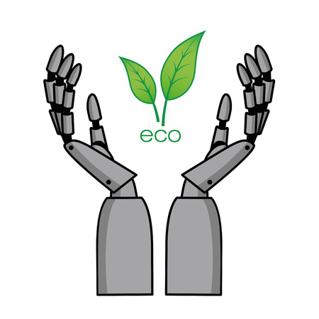 Vector illustration of mechanical arms with leaves. EPS 10.