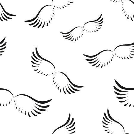 ali angelo: Seamless pattern di angelo curve ali. EPS 10.