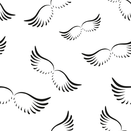 wings angel: Seamless pattern of curved angel wings. EPS 10.