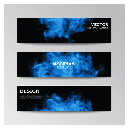 Vector template of banner with abstract smoky shapes
