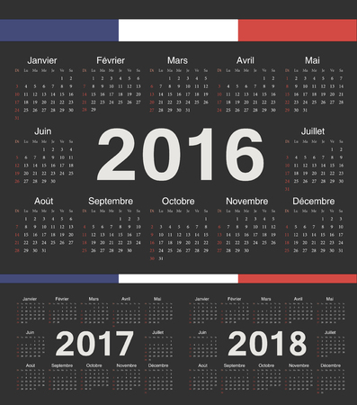 calendrier: french black circle calendars 2016, 2017, 2018. Week starts from Sunday.