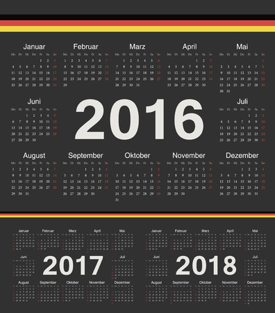 calendrier: Vector german black circle calendars 2016, 2017, 2018. Week starts from Sunday.