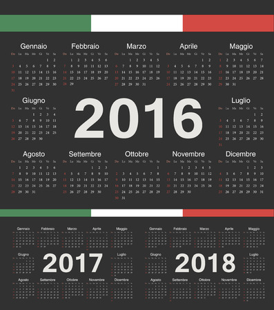 calendrier: Italian black circle calendars 2016, 2017, 2018. Week starts from Sunday.
