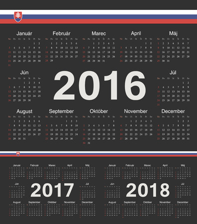 slovak: Vector Slovak black circle calendars 2016, 2017, 2018. Week starts from Sunday. Illustration