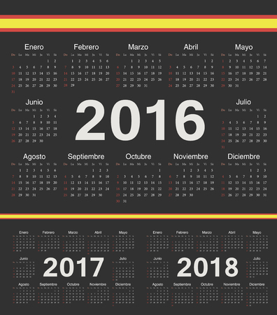 calendrier: Vector spanish black circle calendars 2016; 2017; 2018. Week starts from Sunday.