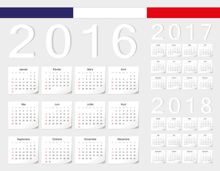 calendrier: Set of French 2016, 2017, 2018 vector calendars with shadow angles. Week starts from Sunday. Illustration