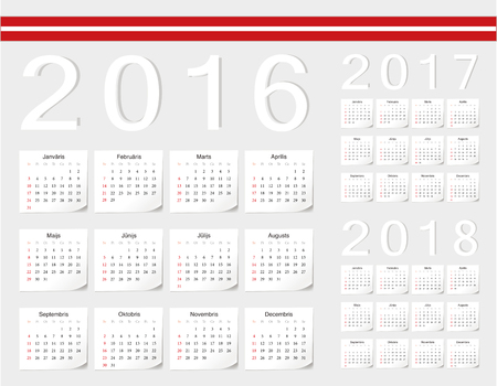 angles: Set of Latvian 2016, 2017, 2018 vector calendars with shadow angles. Week starts from Sunday.