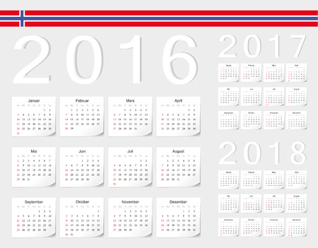 angles: Set of Norwegian 2016, 2017, 2018 vector calendars with shadow angles. Week starts from Sunday.