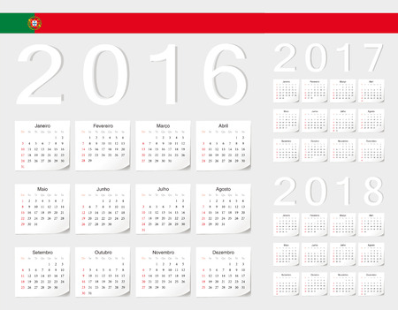 angles: Set of Portuguese 2016, 2017, 2018 vector calendars with shadow angles. Week starts from Sunday.