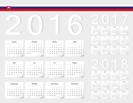 slovak: Set of Slovak 2016, 2017, 2018 vector calendars with shadow angles. Week starts from Sunday.