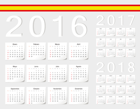 angles: Set of Spanish 2016, 2017, 2018 vector calendars with shadow angles. Week starts from Sunday.
