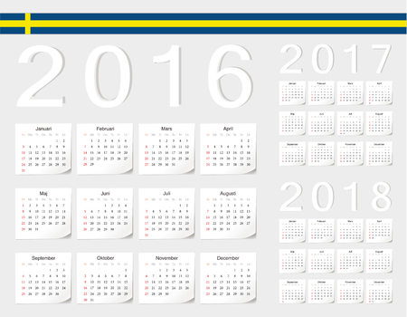 angles: Set of Swedish 2016, 2017, 2018 vector calendars with shadow angles. Week starts from Sunday. Illustration