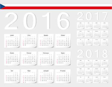 angles: Set of Czech 2016, 2017, 2018 vector calendars with shadow angles. Week starts from Sunday.