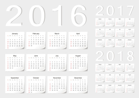 angles: Set of European 2016, 2017, 2018 vector calendars with shadow angles. Week starts from Sunday.