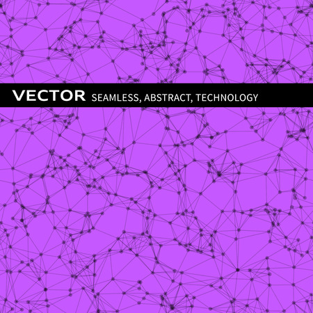 violet background: Vector seamless abstract pattern with black particles on violet background