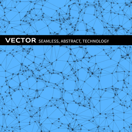 blue abstract: Vector seamless abstract pattern with black particles on blue background