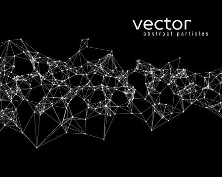 黒い背景に白いベクトル抽象的な粒子  イラスト・ベクター素材