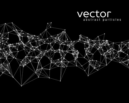 Vector white abstract particles on black background