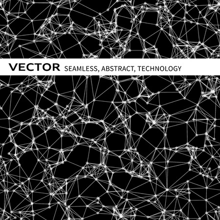 cybernetic: Vector seamless abstract pattern with white particles on black background Illustration