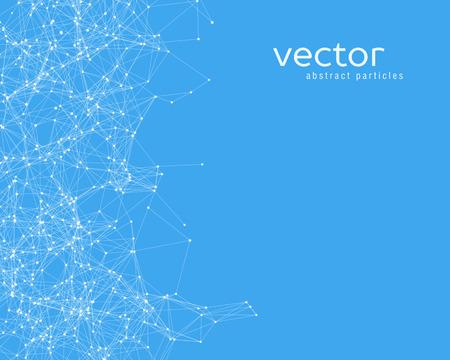 青の背景に白いベクトル抽象的な粒子