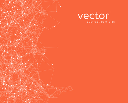 Vector white abstract particles on orange background