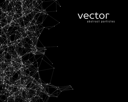 energy background: Vector white abstract particles on black background