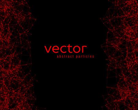 Rojo vector partículas abstractas sobre fondo negro