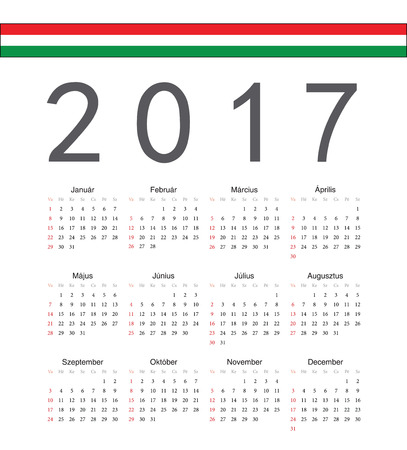 hungarian: Square Hungarian 2017 year vector calendar. Week starts from Sunday. Illustration