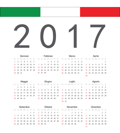Square italian 2017 year vector calendar. Week starts from Sunday.
