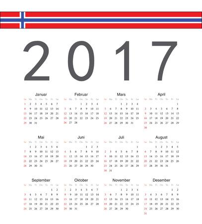 norwegian: Square Norwegian 2017 year vector calendar. Week starts from Sunday.