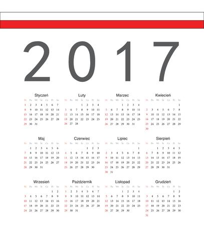 week: Square Polish 2017 year vector calendar. Week starts from Sunday.