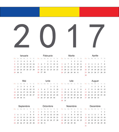 romanian: Square Romanian 2017 year vector calendar. Week starts from Sunday. Illustration