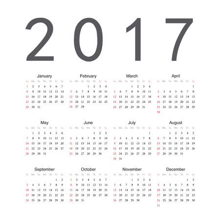 starts: Square English 2017 year vector calendar. Week starts from Sunday. Illustration