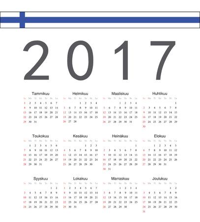 finnish: Square Finnish 2017 year vector calendar. Week starts from Sunday. Illustration