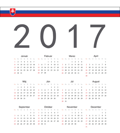 starts: Square Slovak 2017 year vector calendar. Week starts from Sunday.